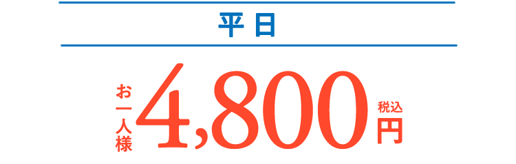 平日 お一人様 4,800円(税込)